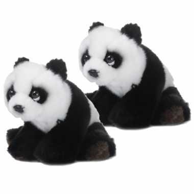 2x stuks wnf pluche pandabeer knuffel 15 cm
