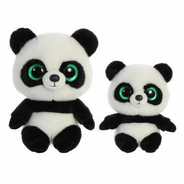 Pandabeertjes knuffels setje van 2x stuks - 15 en 20 cm