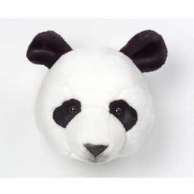 Pluche pandabeer dierenhoofd knuffel 30 cm muurdecoratie